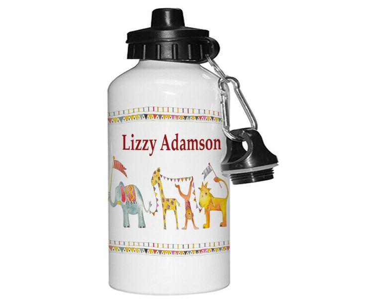 Personalised Drinks Bottle,Personalised Water Bottls,Personalised Gifts,Aluminium Bottle,Kids Bottles,Jungle Parade by TigerlilyprintsLtd on Etsy