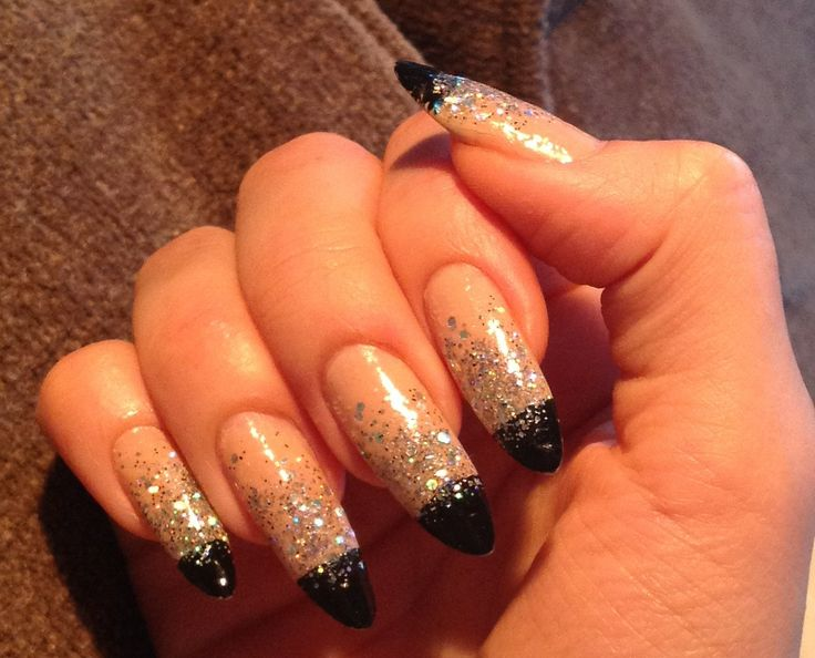black french with glitter