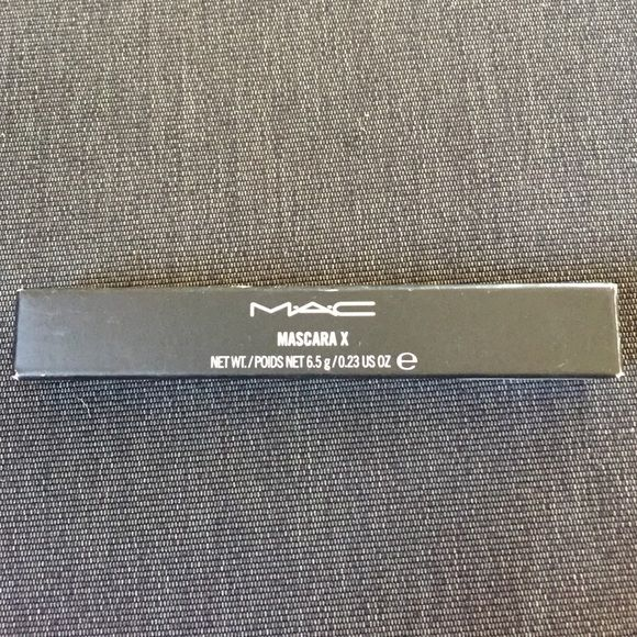 New in Box MAC Mascara X Black New in box MAC mascara X.  Thickening mascara.   Has been discontinued by MAC.   Black. MAC Cosmetics Makeup Mascara