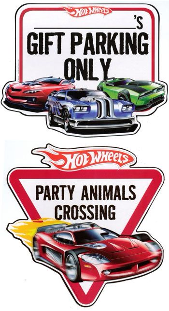 Printable signs for Hot wheels party