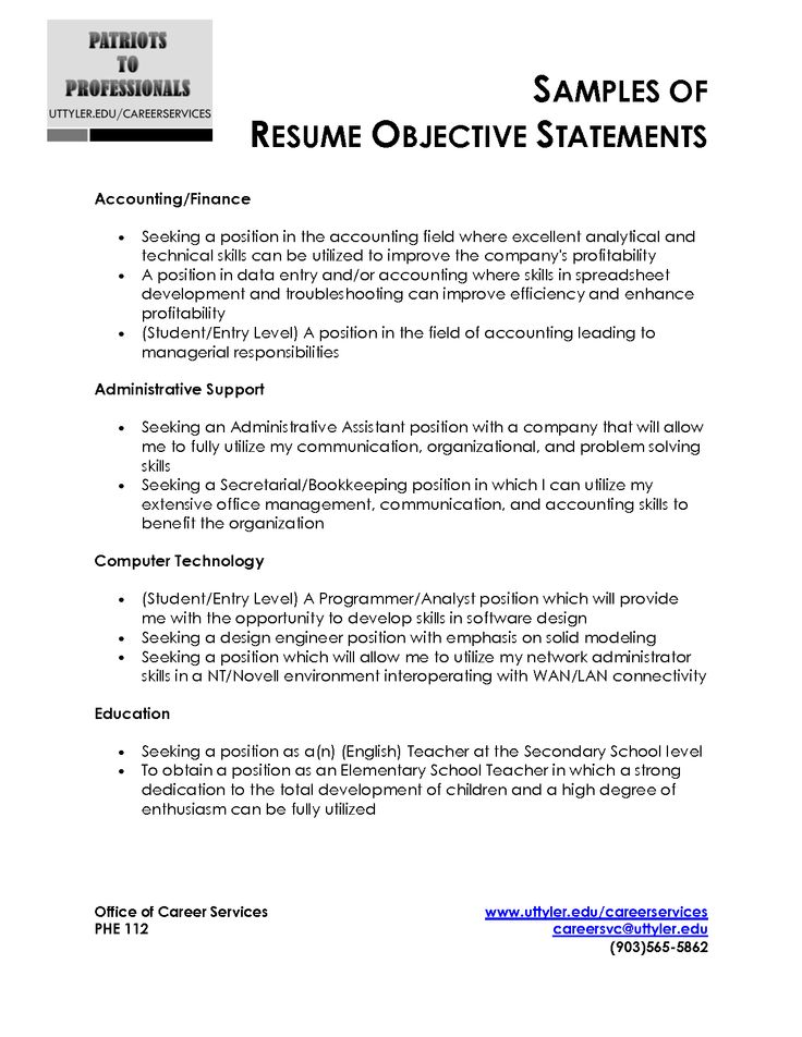 good objective lines for resumes