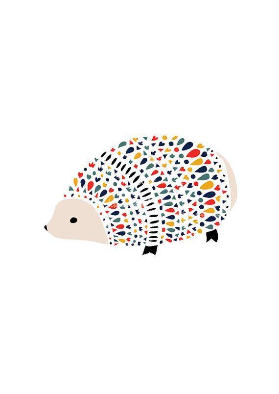 Hedgehog Art Print, Animal Illustration, Drawing, Illustration, Children Room, Kids room art, Nursery room Art, home decor