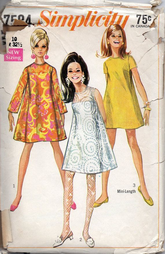 Simplicity 7584 1960s Misses Mini Tent Dress and Under Slip Go Go Fashion womens vintage sewing pattern by mbchills