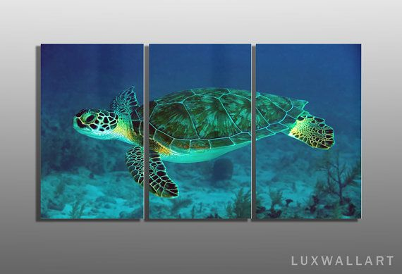Hey, I found this really awesome Etsy listing at https://www.etsy.com/listing/204216618/underwater-sea-turtle-3-panel-metal-wall