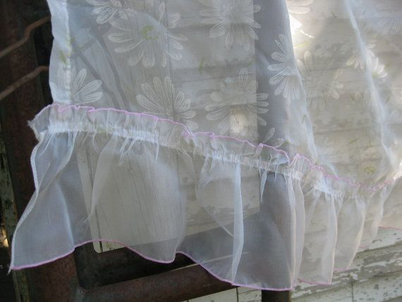 2 Vintage Gypsy sheer curtains with Daisy flowers and pink trim 32 x 32 on Etsy, $17.96