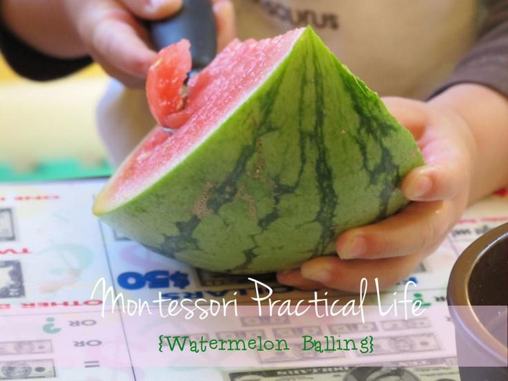 Montessori Practical Life {Melon Balling}