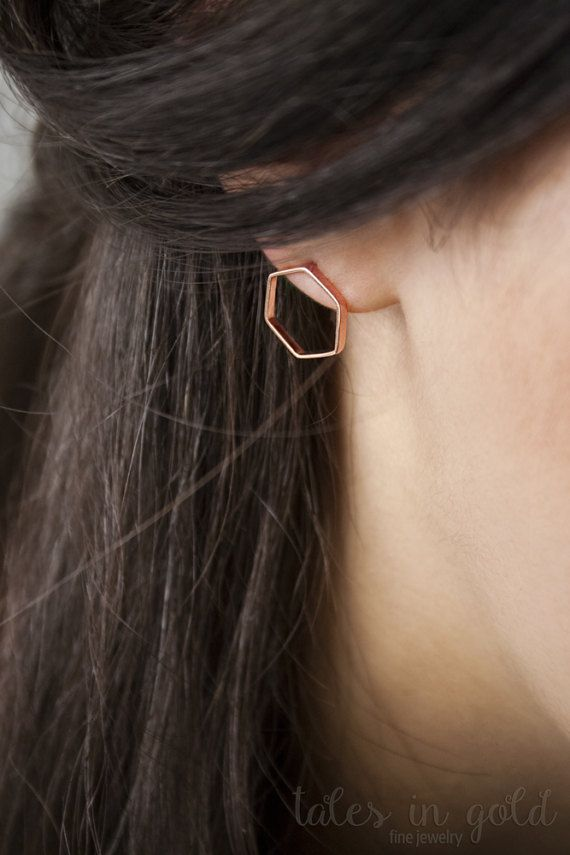 Geometric Earrings Gold Earrings Stud Earrings 14 by TalesInGold