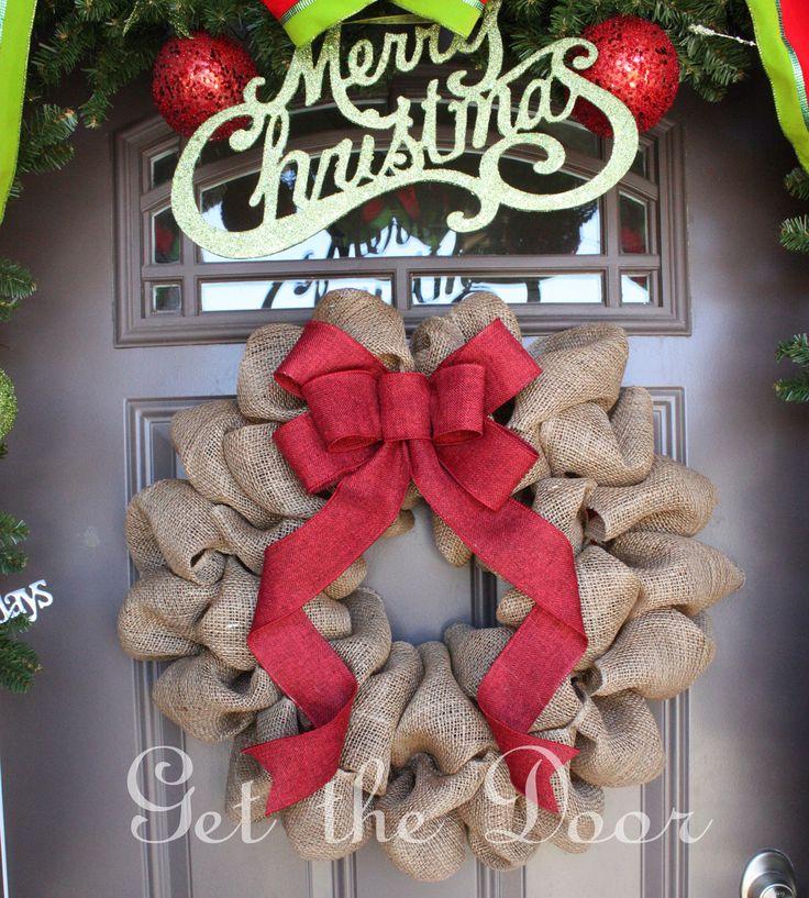 Burlap Christmas Wreath Christmas wreath Burlap by getthedoor, $50.00