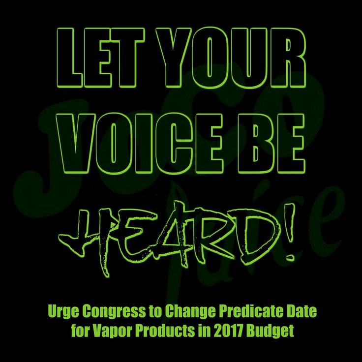 """Between now and April 28th, outstanding issues will be negotiated and decided on.  The FDA deeming date change is being negotiated right now!      JoCo Juice needs all of you to contact your Congress people to make sure these negotiations go our way ----> http://cqrcengage.com/atr/app/onestep-write-a-letter?0&engagementId=326873&mc_cid=e12f793b99&mc_eid=f9ded49872    This means our vapor products will either be """"grandfathered,"""" (like cigarettes were originally when the law passed in 2009)…"""