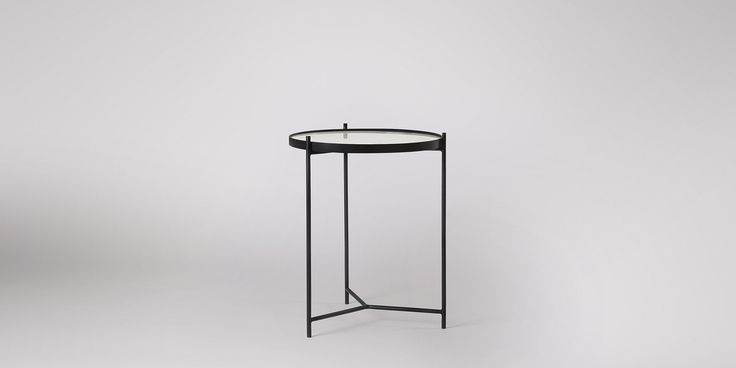 Swoon Editions Side Table, MId-Century style in Black iron and White marble- £149