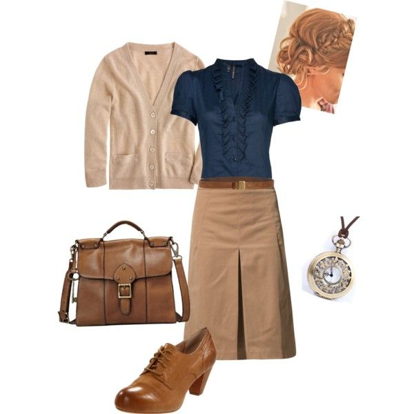 A fashion look from March 2013 featuring three quarter sleeve cardigan, shirts & tops and knee length a line skirt. Browse and shop related looks.