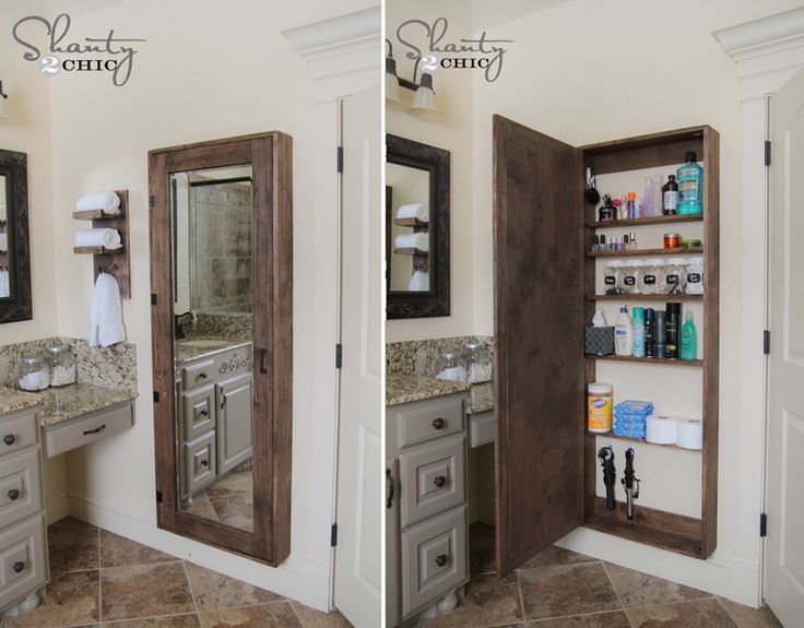Bathroom storage mirror......but could also make it for storage in other rooms. How great would this be in a guest or spare room or even a craft room!