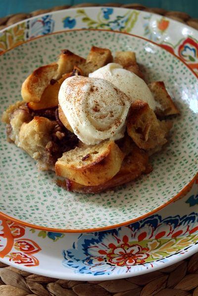 Bourbon Peach Bread Pudding | Love & Flour