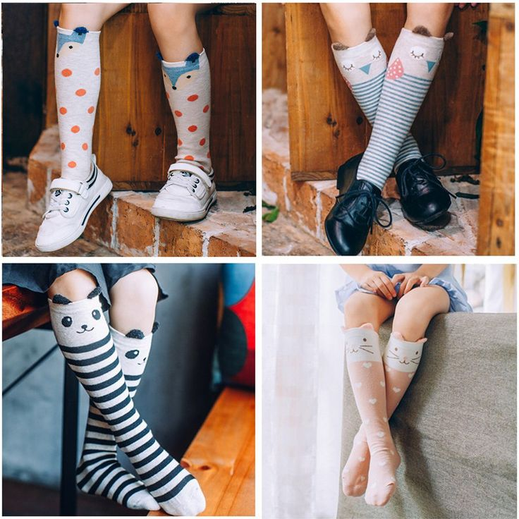 2016 Милые Животные Носки Дети Колено Высокие Носки 3D Мультфильм Мальчики Школа для девочек Длинные Носки Детские Хлопок Лиса Полосы Многоточий Грелки Ноги 1-8Y #women, #men, #hats, #watches, #belts, #fashion
