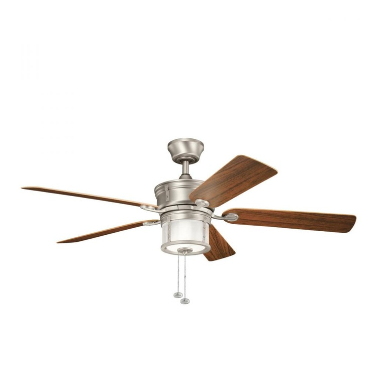 The deckard ceiling fan from kichler with integrated light kit and stylish walnut blades is