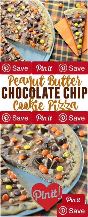 Peanut Butter Chocolate Chip Cookie Pizza 35 mins to make serves 12 Ingredients Refrigerated 1 Egg Condiments  cup Peanut butter chips  cup Peanut butter cups miniature Baking & Spices  tsp Baking soda  cup Brown sugar packed 1  cups Gold medal all-purpose flour  cup Granulated sugar 1  cups Milk chocolate chips 1 tsp Vanilla Dairy  cup Butter Desserts  cup Candy coated peanut butter candies