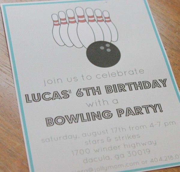 Bowling Birthday Party Invitation - Free bowling party printables