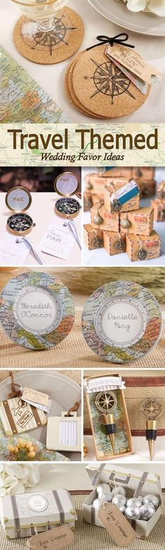 Montón de ideas para entregar a tus invitados. Ideas de souvenirs para bodas wanderlust. Foto: weddingfavorsunlimited.com