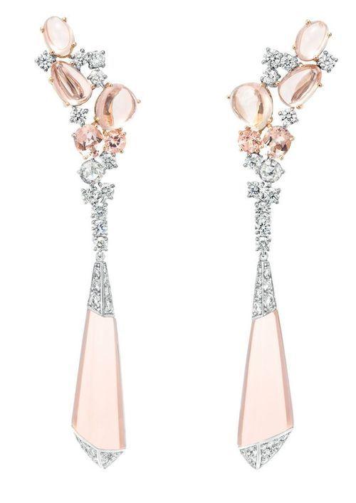 Boucheron Hotel de la Lumi猫re Halo Delilah earrings in white gold, set with morganites and white diamonds