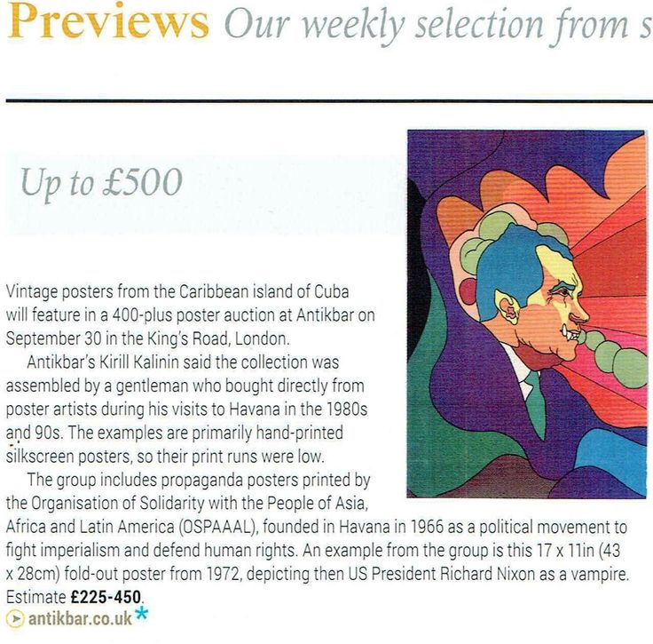 Our Original Vintage Poster Auction featured in the Antiques Trade Gazette (Auction Previews p46). The auction will start at 3pm UK time on Saturday. Visit https://www.antikbar.co.uk/antikbar-auctions/ for full information with links to view our catalogue and register to bid online via The Saleroom https://www.the-saleroom.com/en-gb/auction-catalogues/antikbar/catalogue-id-antikb10007 Live Auctioneers…