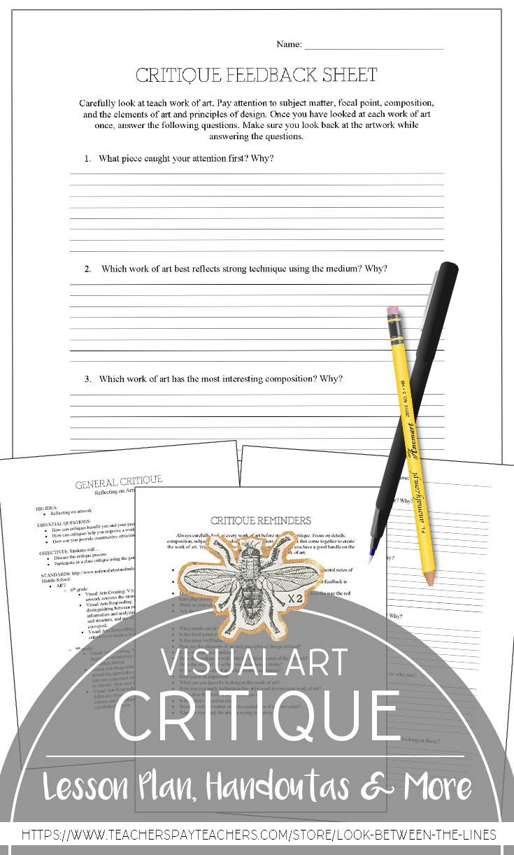 Worksheets Art Critique Worksheet visual arts general critique worksheet encourage discussion i love having a art on hand for those days spontaneously decide to do or if project f