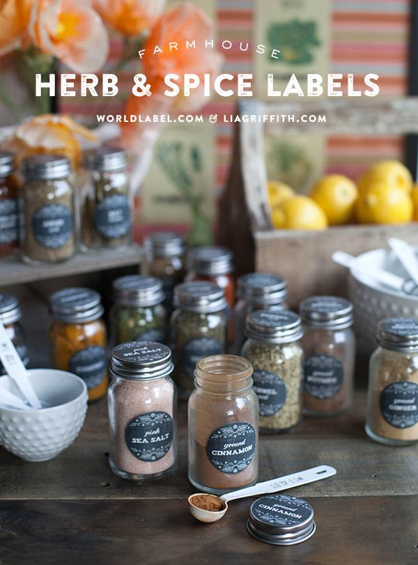 Free Printable Spice Jar Labels by @lia griffith with matching pantry labels.