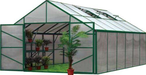 """Grow Smart Greenhouse 13 x 20 4 Season 4 roof vents 10 MM Double Wall Polycarbonate by Earthcare Greenhouses. $3349.99. Heavy Gauge Extruded Aluminum Frame Power Coated Green Snap together Connections. Double Dutch Style Doors on Both Ends for extra Ventilation & walk thru. 4 Roof Vents for maximum air flow. 10 MM double wall Polycarbonate Wall and Roof Panels for extreme Temperature protection. 13'  wide x 19' 10"""" long x 9' high. The Grow Smart Premium Greenhouse has great ..."""