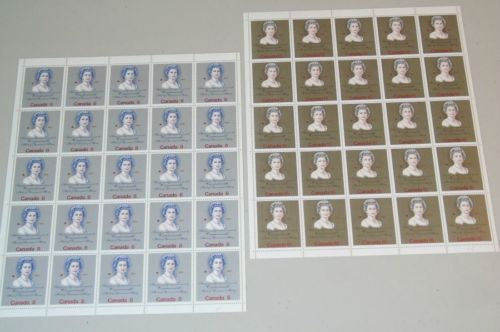 Stamp Pickers Canada 1973 QEII Royal Visit Scott #620-621 MNH Full Panes Sheets