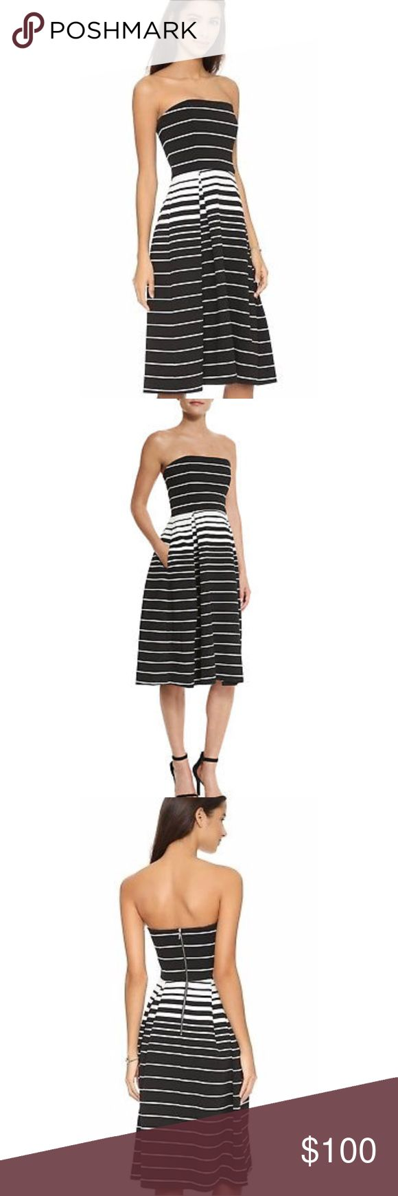 """Strapless black and white dress N NICHOLAS Black White Corsica Striped Strapless Ball Dress In great condition, only worn once Approximately 41"""" in length Bloomingdale's Dresses Midi"""