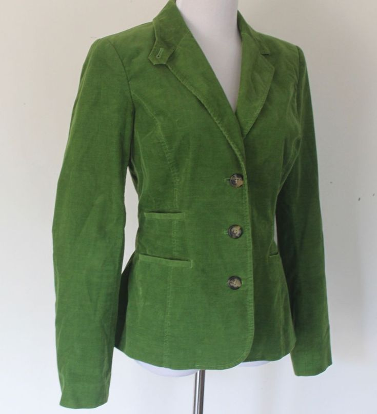 Women's Size 8 Lilly Pulitzer Green Cotton Corduroy Fully Lined Blazer Jacket #LillyPulitzer #Blazer
