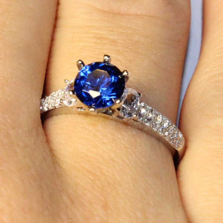 Solitaire Sapphire Ring – Blue Cubic Zirconia -- This is gorgeous!  I love sapphire rings (or at least ones that look like sapphire).