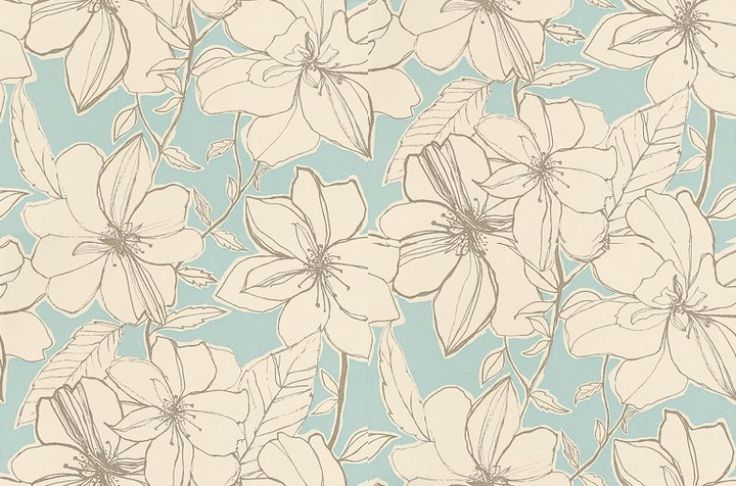 Spirit (60129) - Harlequin Wallpapers - Vibrant and bold, featuring hand sketched overblown flower heads in off white against a clear blue background. Available in other colours. Please request sample for true colour match.
