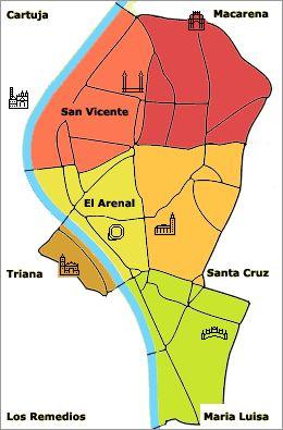 Map of Seville, Spain