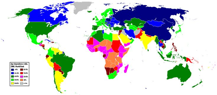 Age Dependency Ratio by country, 2008. World Bank data