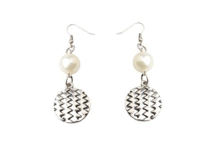 Dangly earrings combines uber fashionable geometric metal design with a faux pearl. £15.00