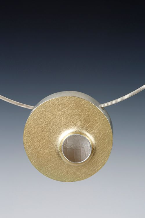 Lona Northener Jewelry: Hollowform of Sterling and 18K Bimetal.