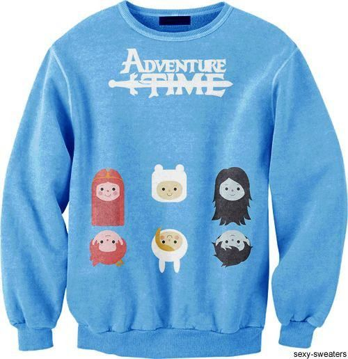 Adventure Time Finn Princess Bubblegum Marceline Print Crew Neck Pullover Sweater in Blue | DOTOLY