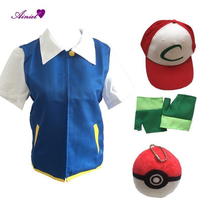 Ainiel High Quality Pokemon Ash Ketchum Cosplay Costumes Pocket Monster Cosplay Blue Jacket   Gloves   Hat   Ash Ketchum Ball
