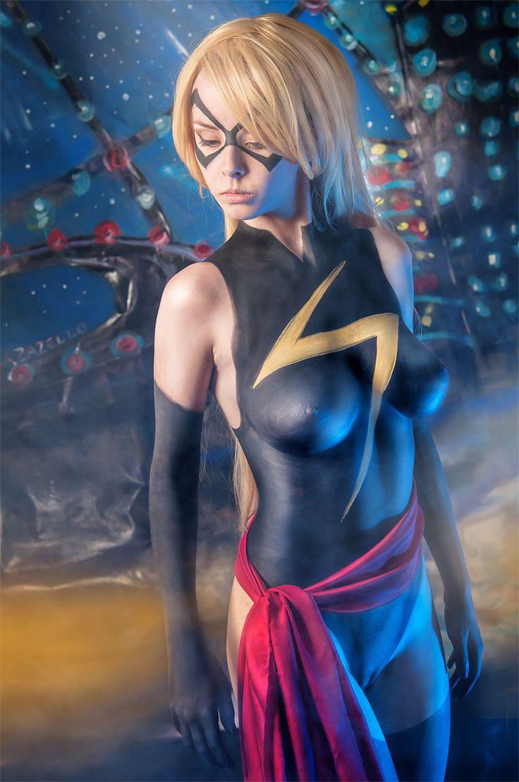 caligulasgirls:  A Ms. Marvel body paint cosplay….http://CaligulasGirls.tumblr.com