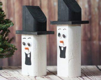 Madera muñeco de nieve - Navidad manto decoraciones - rústico Decor - Decoración de la Navidad - primitivo muñeco de nieve Navidad - Navidad primitiva