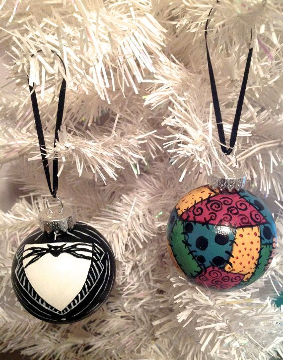 Jack & Sally Ornament Set- The Nightmare Before Christmas on Etsy, $13.50