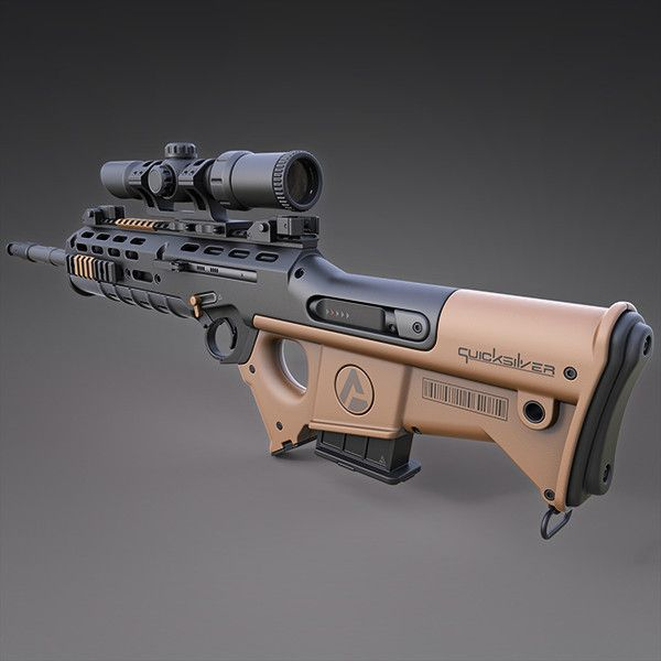 "Quicksilver Industries: ""Wildebeest"" Rifle / DMR & SR, Christian Groß on ArtStation at https://www.artstation.com/artwork/lN0Oe"