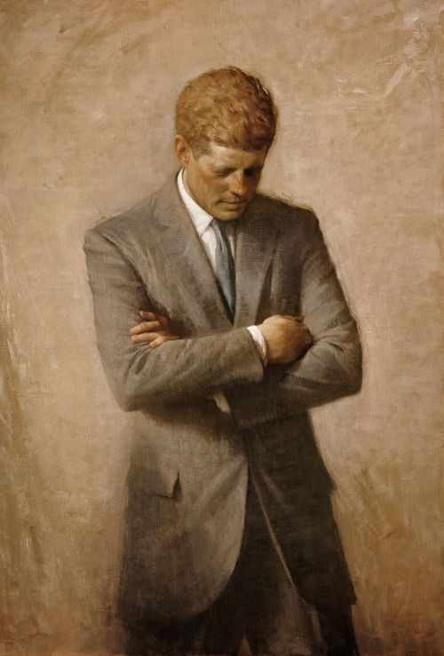 President John F. Kennedy's posthumous official portrait by Aaron Shikler. (via White House Historial Association)