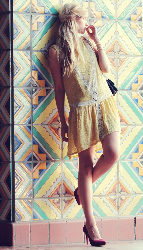 The hair - if it were really as effortless as it looks.  Love the outfit and tile too.