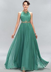 Silk-like Chiffon high collar A-line Prom Dress with Beaded Lace Appliques