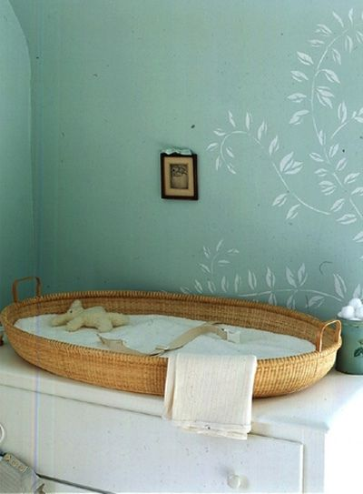 basket as changing table, great idea.