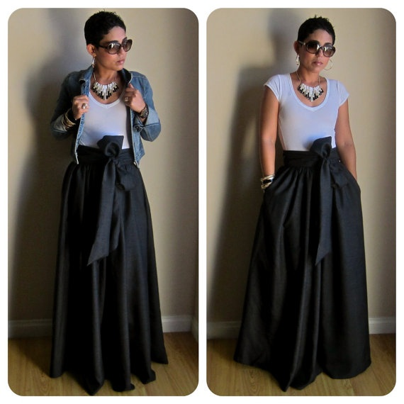 Very Full Regal Black Maxi Skirt w/ Sash Option by mimigstyle, $150.00