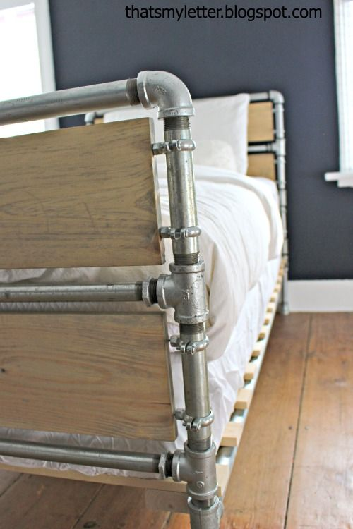 Ana White   Build a Pipe and Wood Slat Bed   Free and Easy DIY Project and Furniture Plans