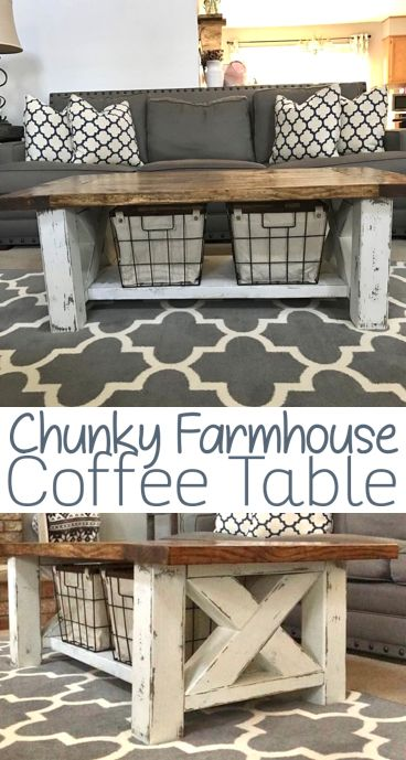 DIY Woodworking Ideas Chunky Farmhouse Coffee Table