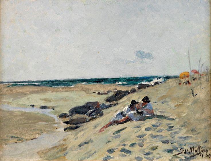 José Malhôa (1855-1933) Praia das Maçãs Óleo sobre cartão Assinado e datado de 1929